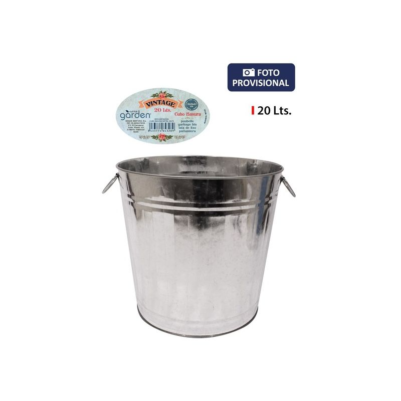 Cubo Basura Metal 20lts Little Garden