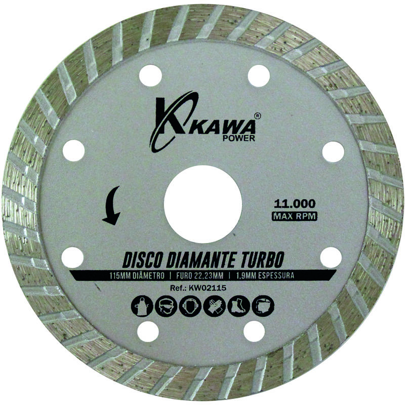 Disco Diamante Turbo 115X1.9X22.23X10Mm Para Desbrozadoras - KAWAPOWER