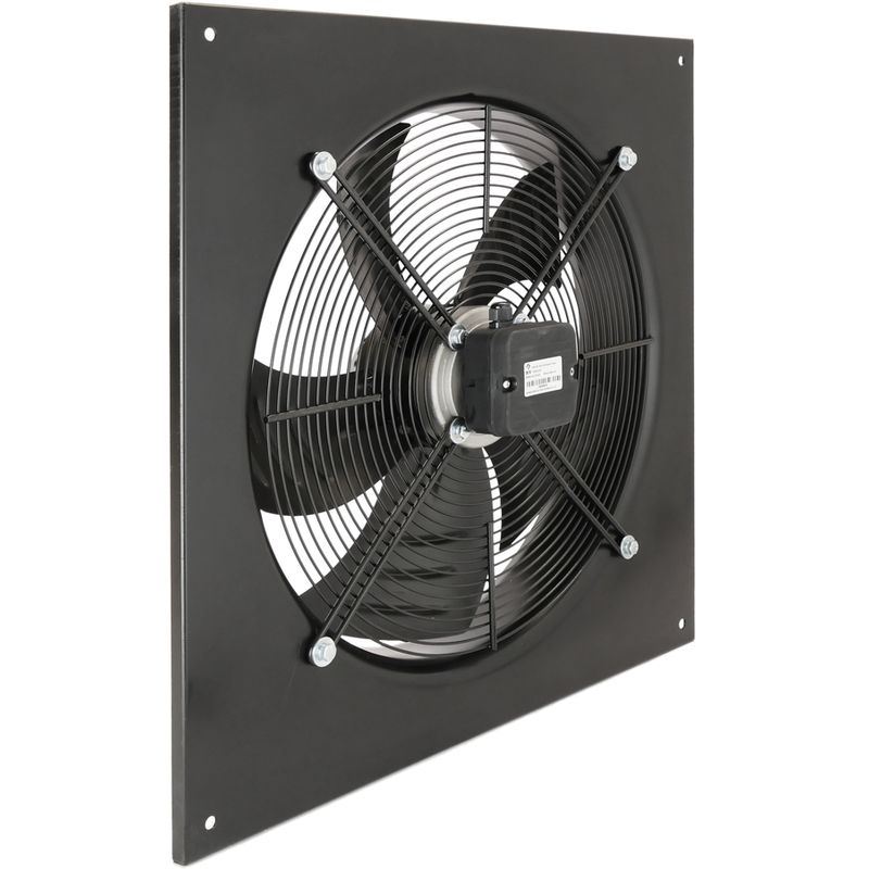 PrimeMatik - Extractor de aire de pared de 600 mm para ventilación industrial 1350 rpm cuadrado 790x790x100 mm
