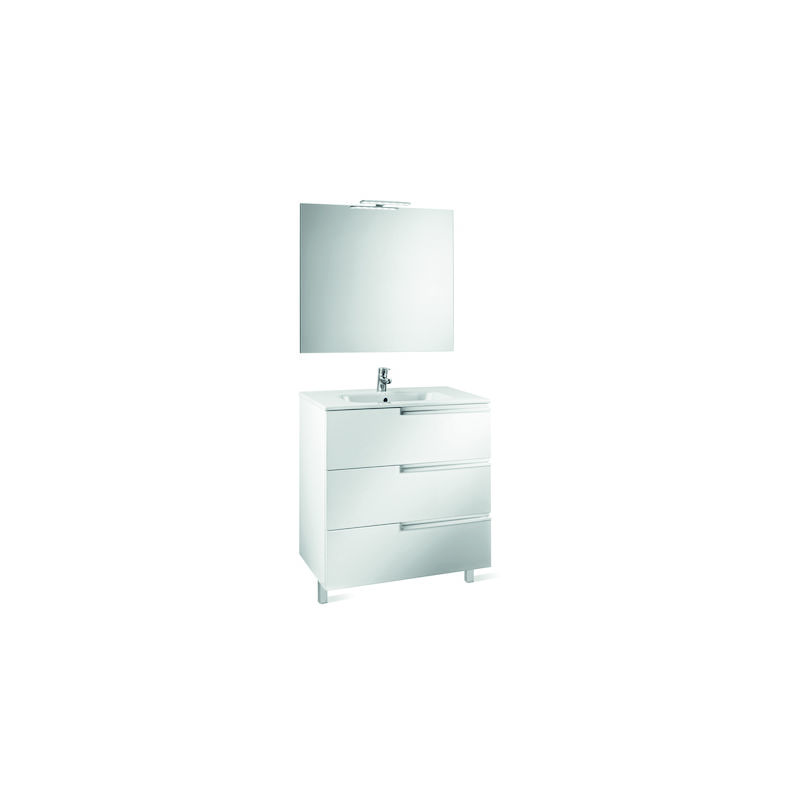 ROCA Pack Family (mueble base lavabo espejo y aplique) - 100 cm, Serie Victoria-N , Color Blanco brillo