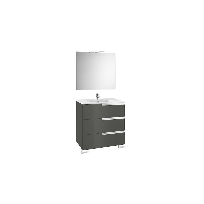 ROCA Pack Family (mueble base lavabo espejo y aplique) - 80 cm, Serie Victoria-N , Color Gris antracita