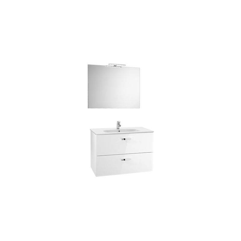 ROCA Pack (Incluye Unik Victoria Basic de 2 cajones, espejo y aplique LED), Serie Victoria Basic, 80 cm, Color Blanco Brillo. - A855857806