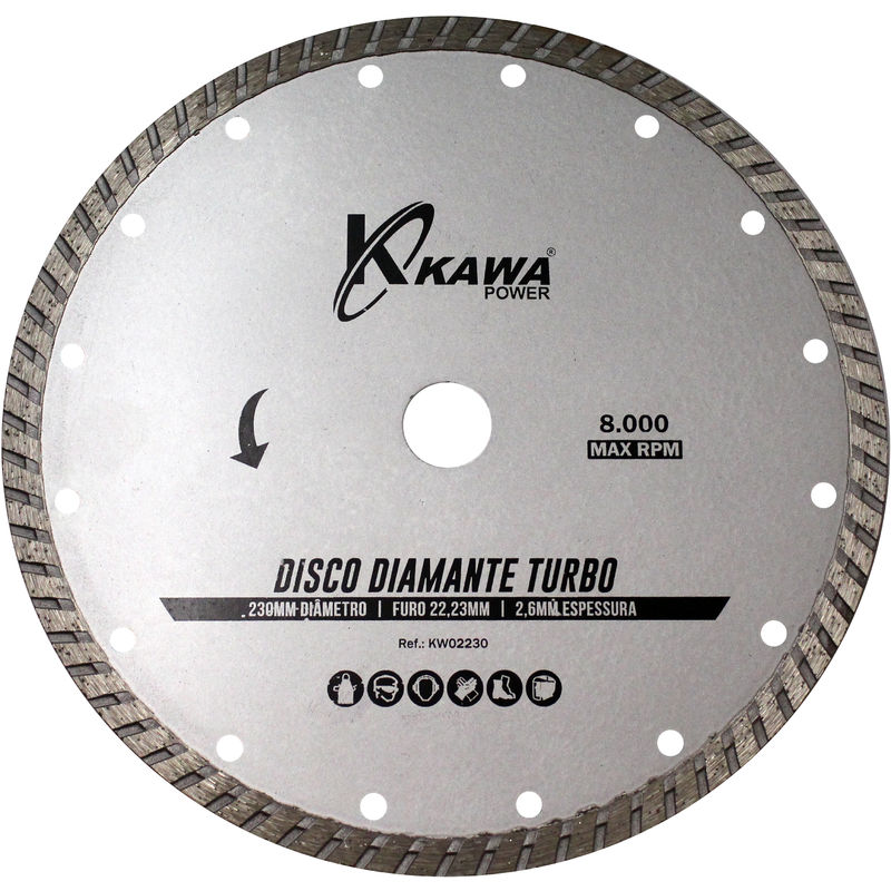 Disco Diamante Turbo 230X2.6X22.23X10Mm Para Desbrozadoras - KAWAPOWER