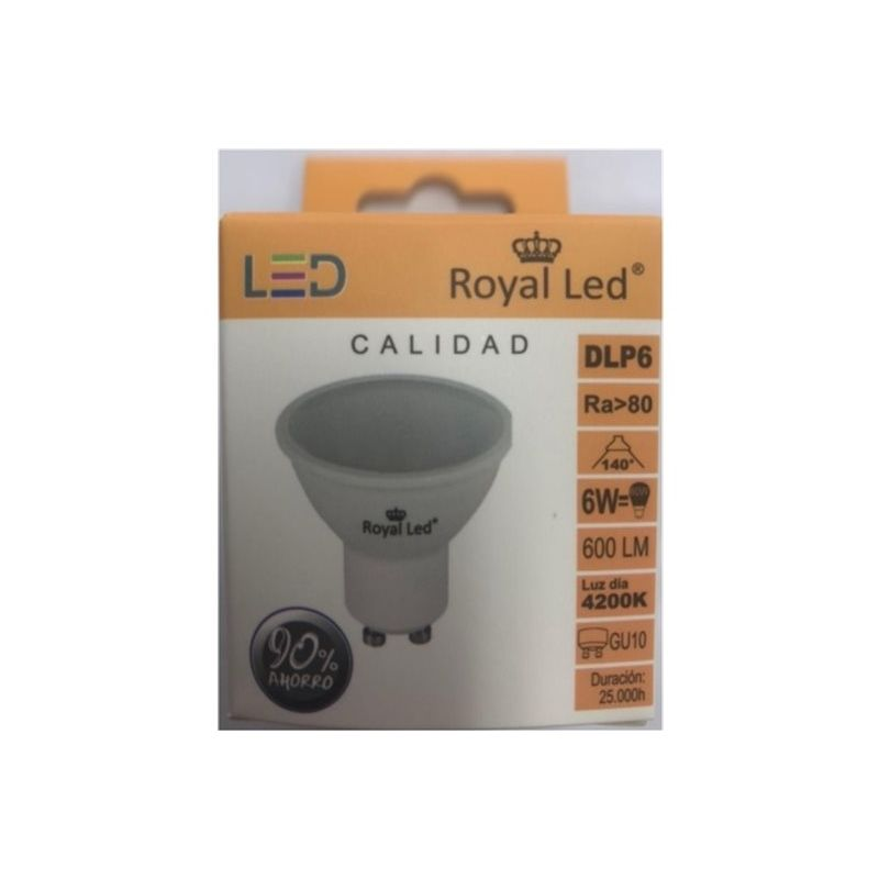 Lampara Iluminacion Led Dicroica Gu10 6W 600Lm 4200K Royal Led