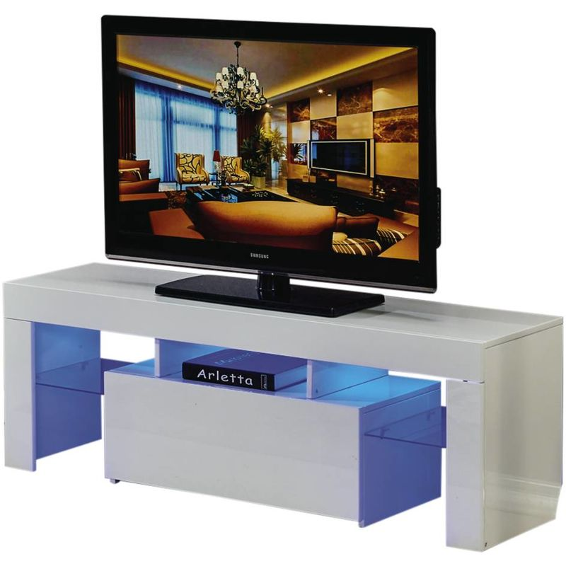 Mueble TV LED BORDA - 130 x 34 x 45 cm - Blanco - HABITAT ET JARDIN