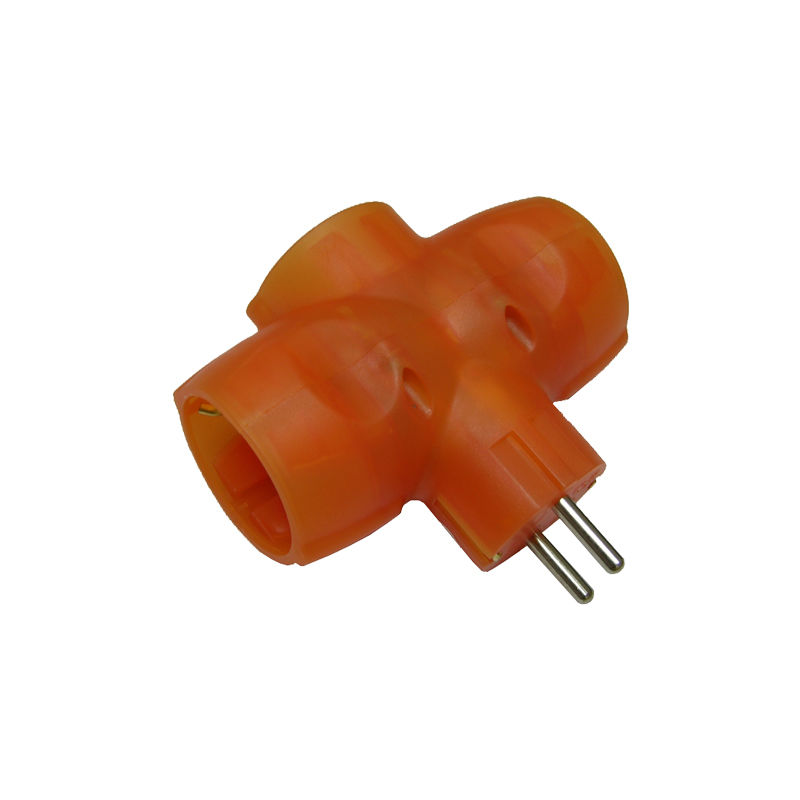adaptador triple 16a naranja - EUROBRIC
