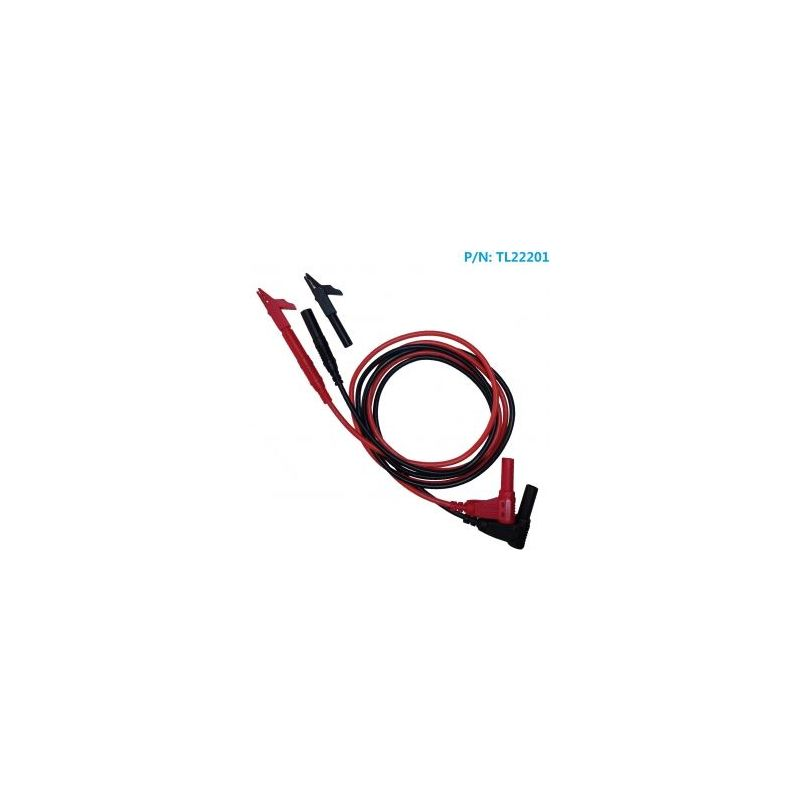TL22201 Cable Macho banana 4mm a macho banana 4mm con conector cocodrilo ( rojo y negro) - AMASS