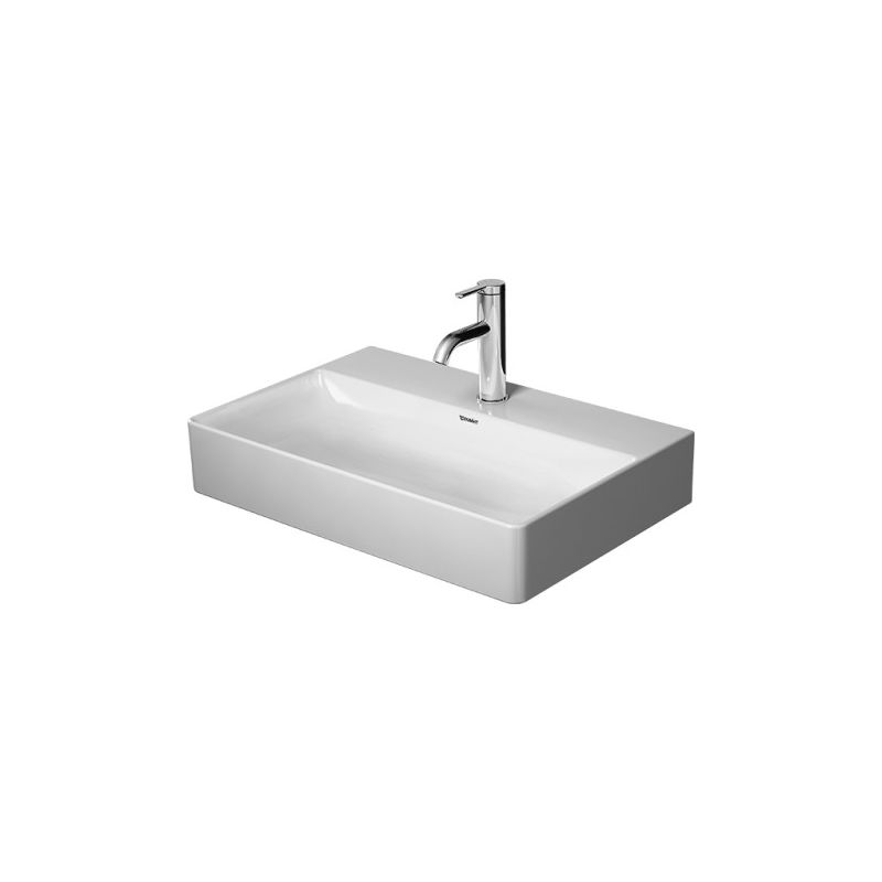 Lavabo Duravit DuraSquare, lavabo para muebles Compact 60x40 cm, sin agujero para grifo, sin rebosadero, con banco con agujero para grifo, color: