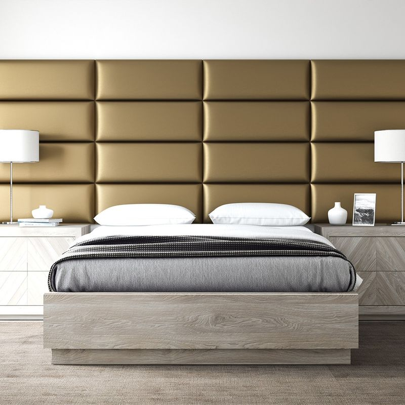Cabecera Tapizada Panel Decorativo - Pared Tapizada 91cm Oro - VANT PANELS