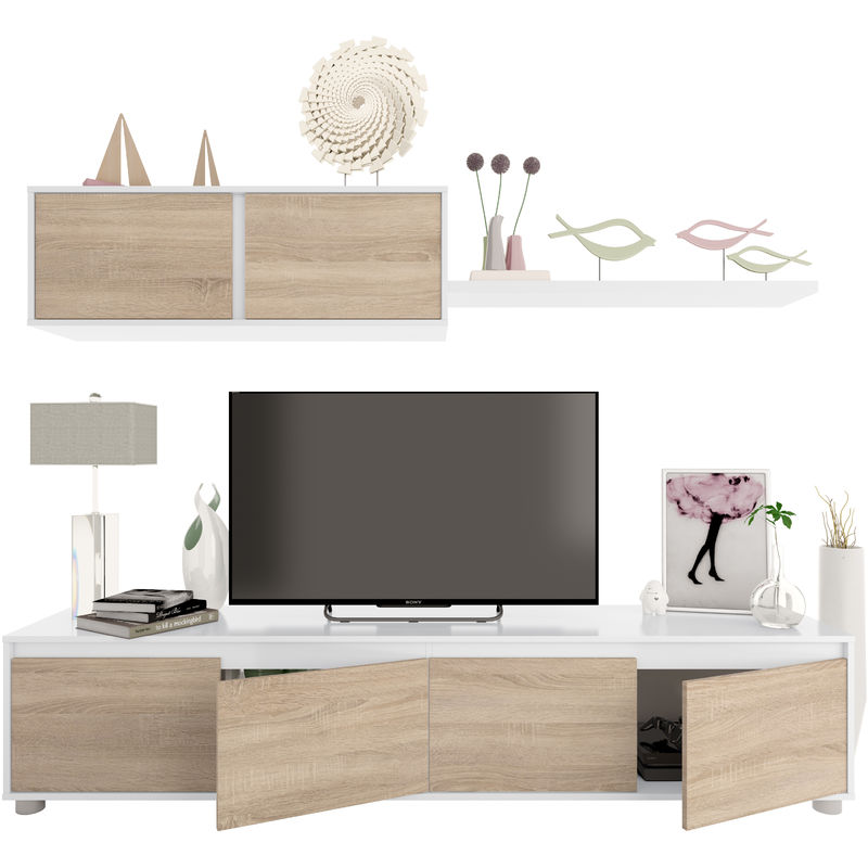 Dmora. Mueble de TV para salón, color roble canadiense y blanco ártico, de 43 x 200 x 41 cm