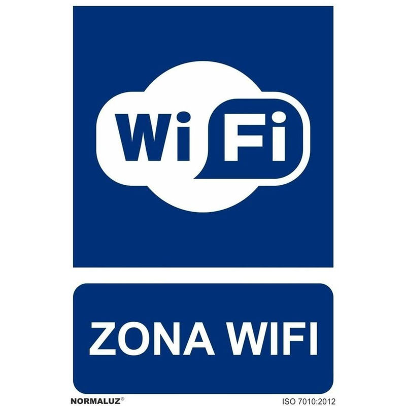 Señal Zona WiFi Con Tintas UV  300 x 400 mm - PVC GLASSPACK 0'7 mm - SEKURECO