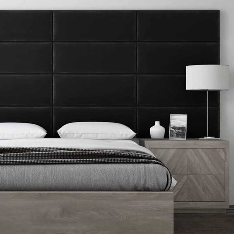 Cabecera Tapizada Panel Decorativo - Pared Tapizada 76cm Negro - VANT PANELS