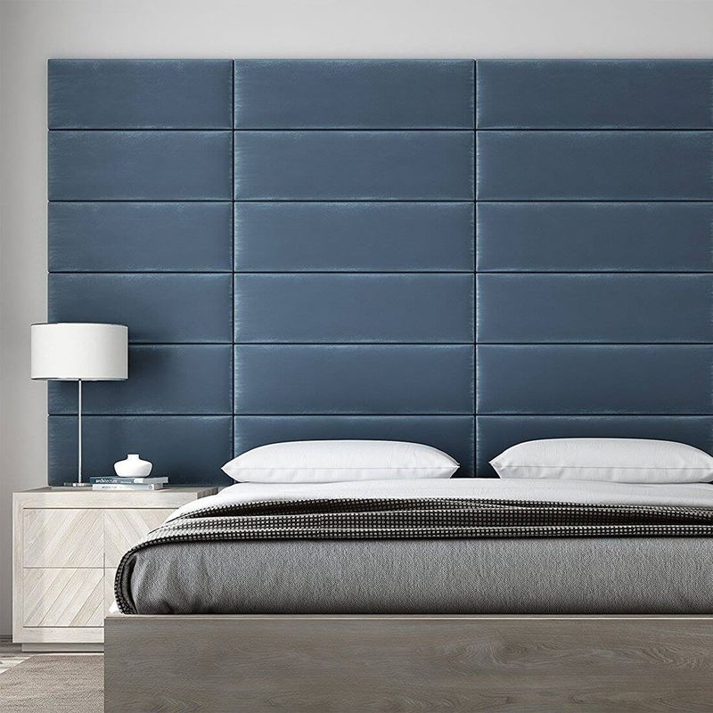 Cabecera Tapizada Panel Decorativo - Pared Tapizada 91cm Azul - VANT PANELS
