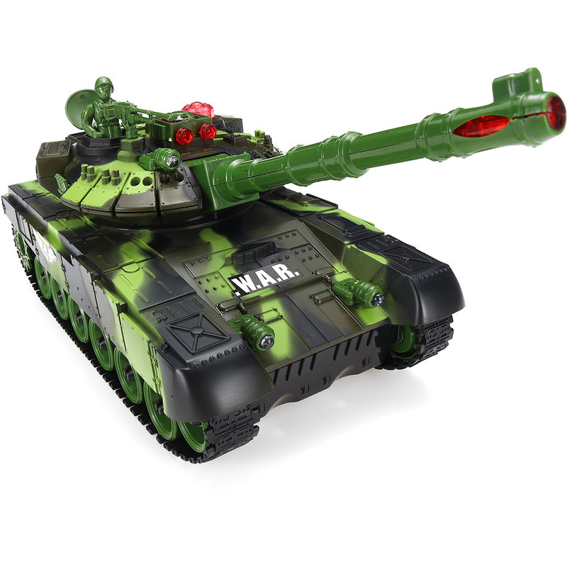 RC Battle Tank Control remoto LED Disparo Off Road Seguimiento 2.4Ghz High Speed33cm Verde - INSMA
