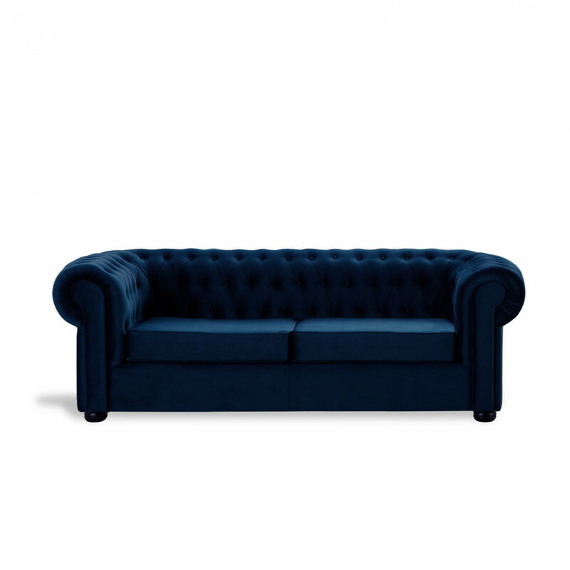 Sofá Chester Velvet Edition Azul Oscuro Sofa 2 Plazas - HOME DESIGN