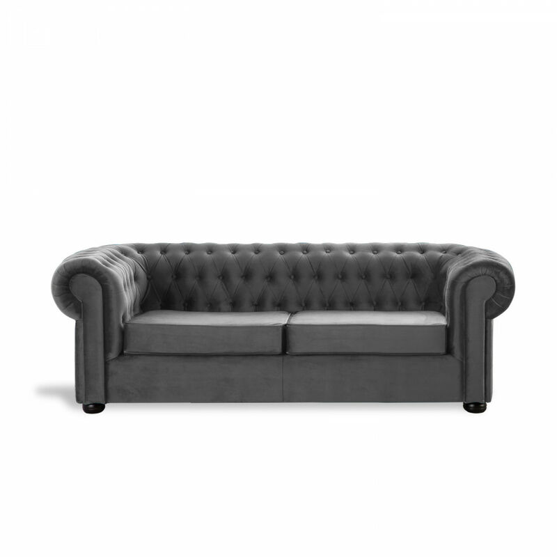 Sofá Chester Velvet Edition Gris Claro Sofa 2 Plazas - HOME DESIGN