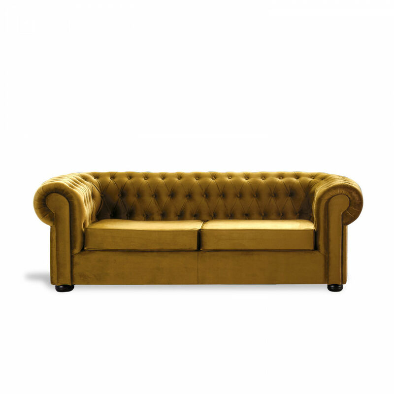Sofá Chester Velvet Edition Mostaza Sofa 2 Plazas - HOME DESIGN