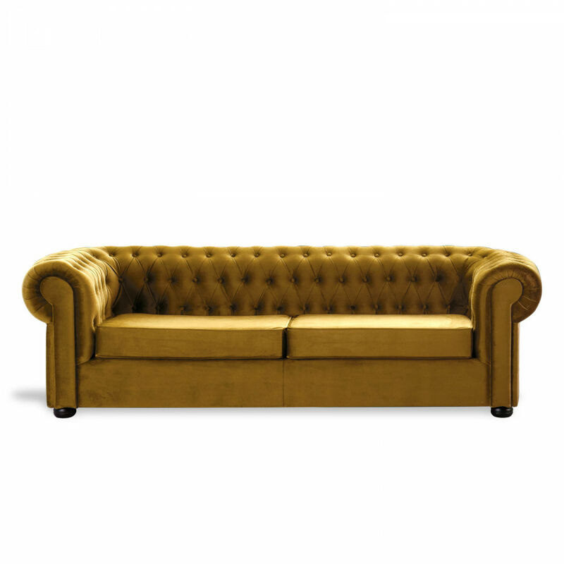 Sofá Chester Velvet Edition Mostaza Sofa 3 Plazas - HOME DESIGN