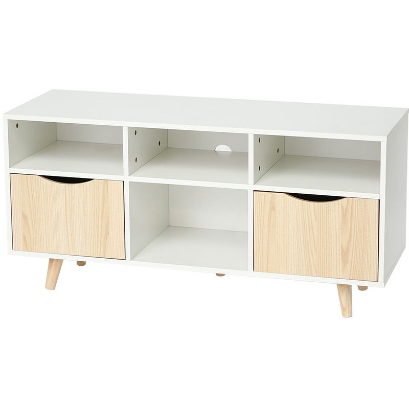 ® Gabinete de TV,Mueble de TV blanco escandinavo y decoración de roble mate + patas de madera - 116x39x54cm - Wyctin