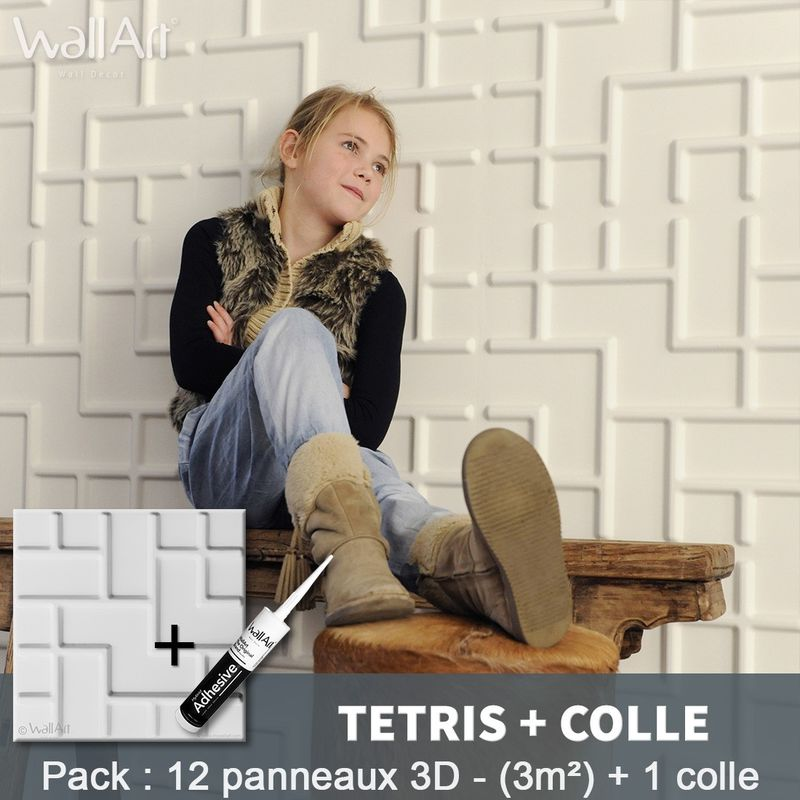 Paneles decorativos 3D Tetris Panel de pared + Pegamento WallArt - WALLART 3D