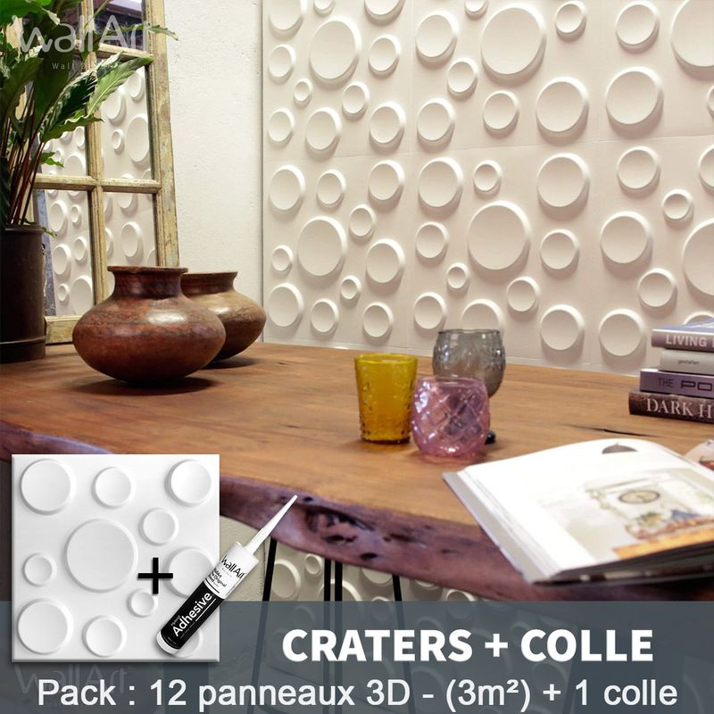 Paneles decorativos 3D Craters Panel de pared + Pegamento WallArt - WALLART 3D