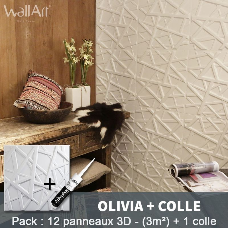 Paneles decorativos 3D Olivia Panel de pared + Pegamento WallArt - WALLART 3D