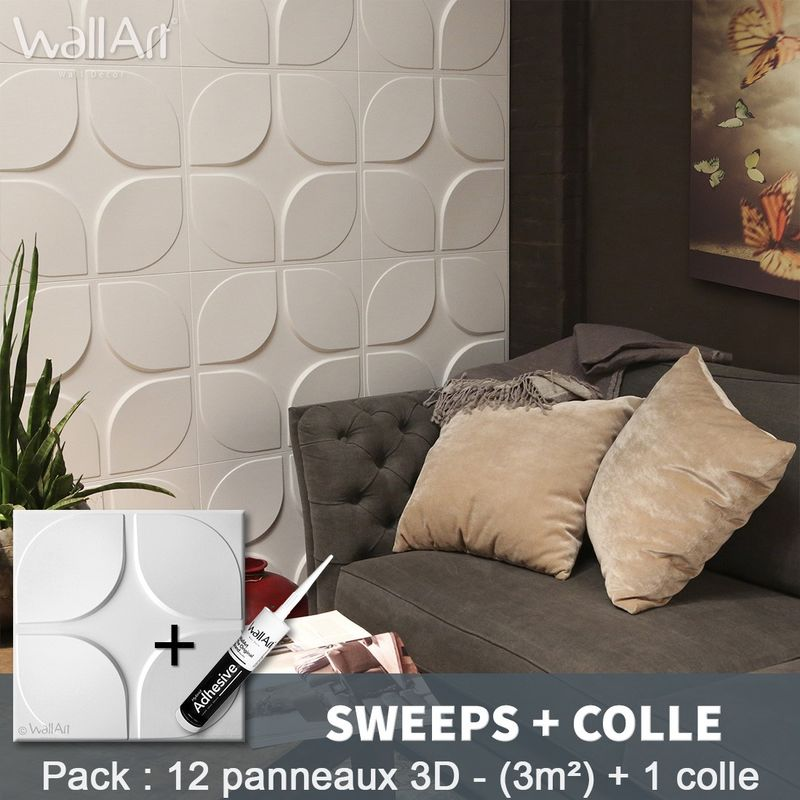 Paneles decorativos 3D Sweeps Panel de pared + Pegamento WallArt - WALLART 3D