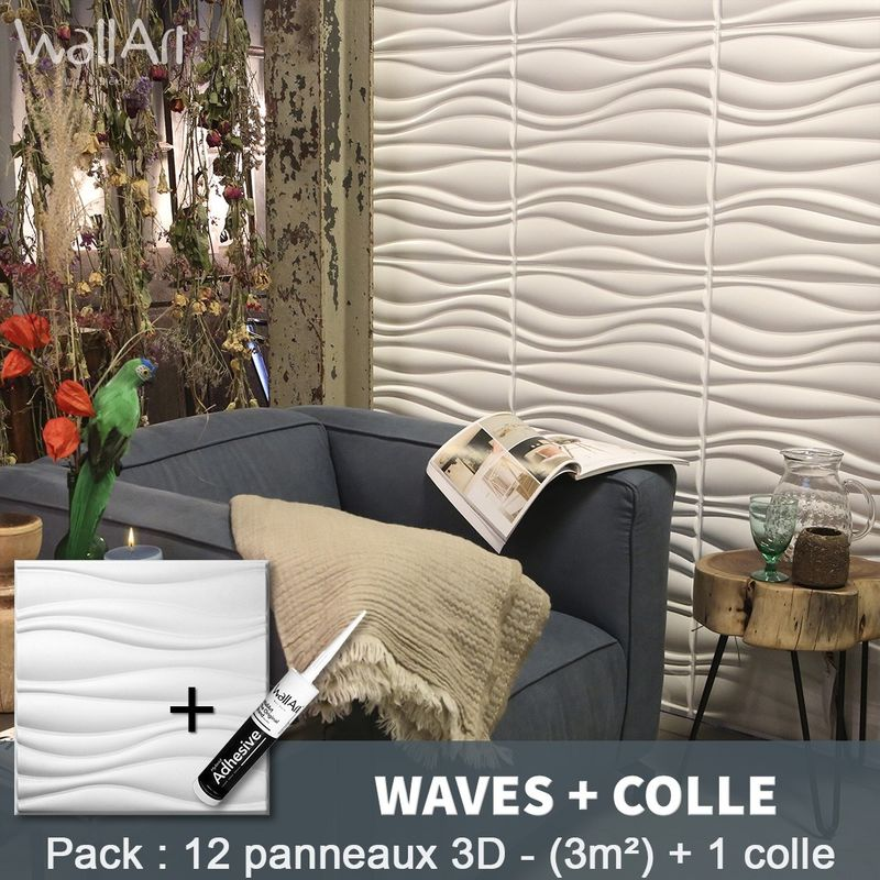 Paneles decorativos 3D Waves Panel de pared + Pegamento WallArt - WALLART 3D