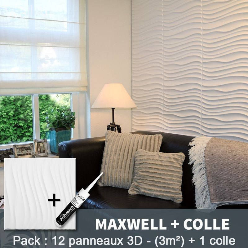 Paneles decorativos 3D Maxwell Panel de pared + Pegamento WallArt - WALLART 3D