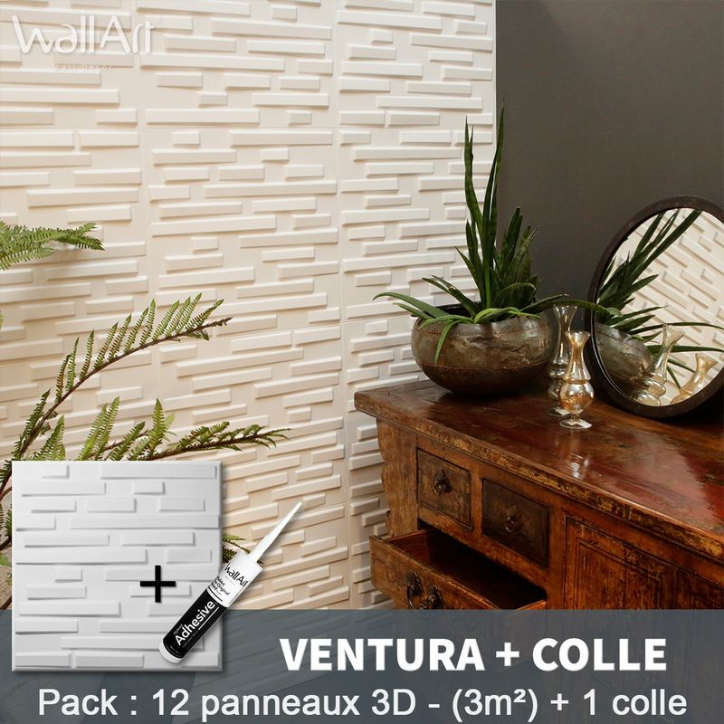 Paneles decorativos 3D Ventura Panel de pared + Pegamento WallArt - WALLART 3D