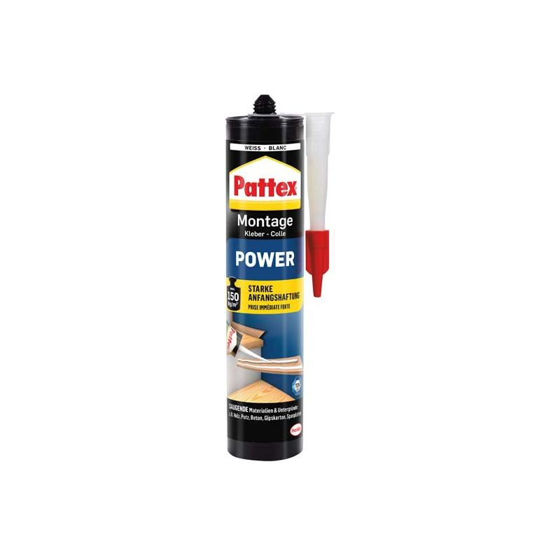 Pattex Cola montaje Power 370g cartucho , blanco (por 12)