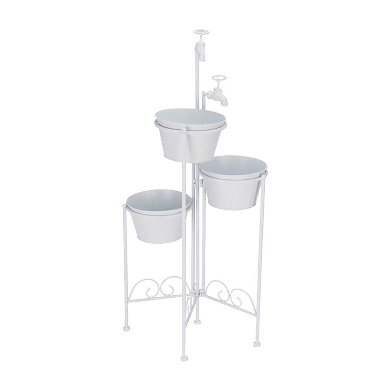 Set 3 macetas decorativas metal blanco - KOOPMAN