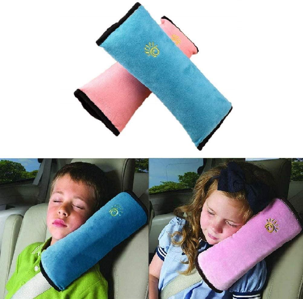 2Pcs Almohadilla Cinturon Seguridad Para Niños y Bebés,Cinturón de seguridad para niños cinturones de seguridad de coches Protector de hombro almohada (Azul & Rosa)