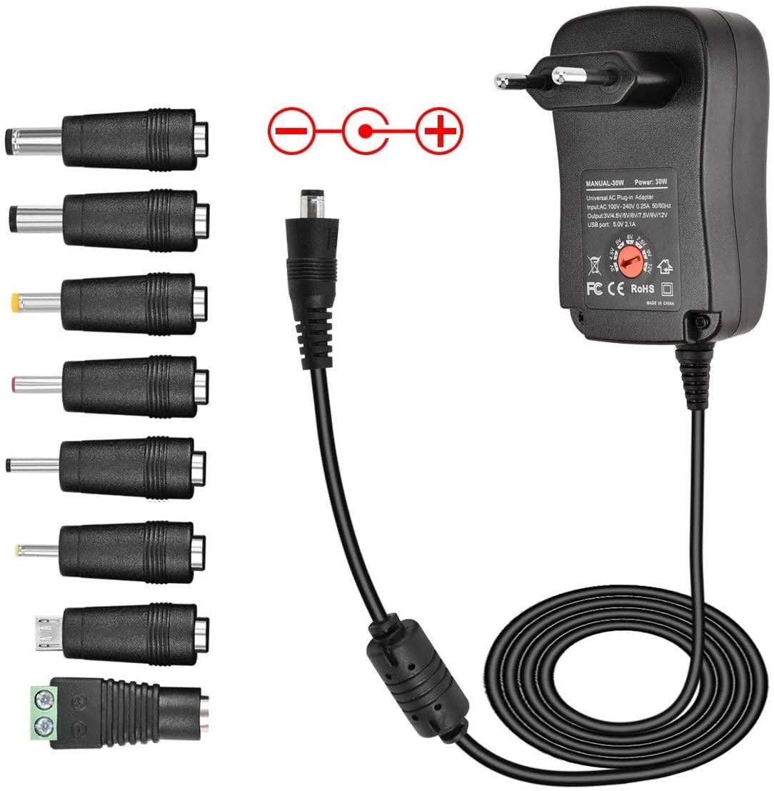 30W Fuente de Alimentación Universal, Sopito 3V 4.5V 5V 6V 7.5V 9V 12V AC/DC Adaptador con 8 Desmontable DC Conectores y Puerto USB 5V 2,1A---2000mA MAX