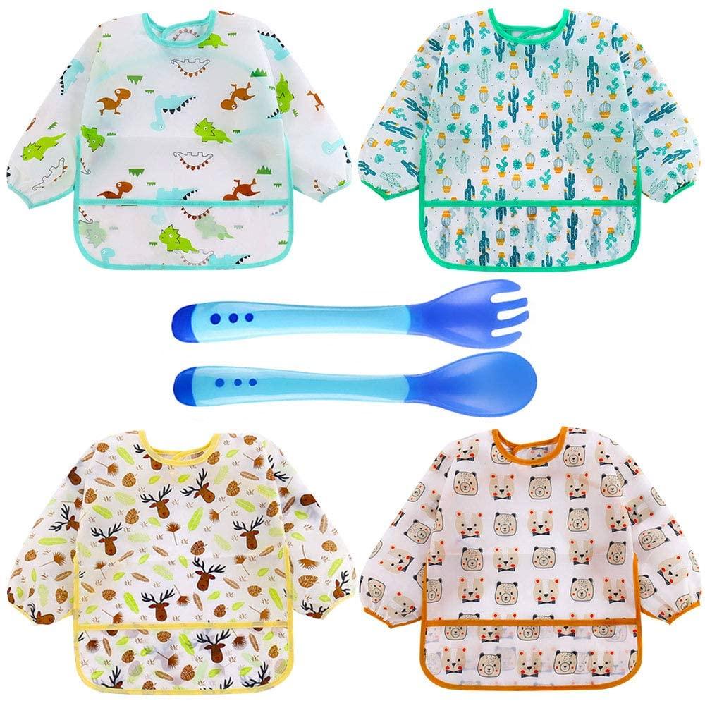 4 Baberos Impermeable con Mangas Larga Telo Blando con Tenedor Cuchara (4 baberos bebé con mangas y 2 cuchara)
