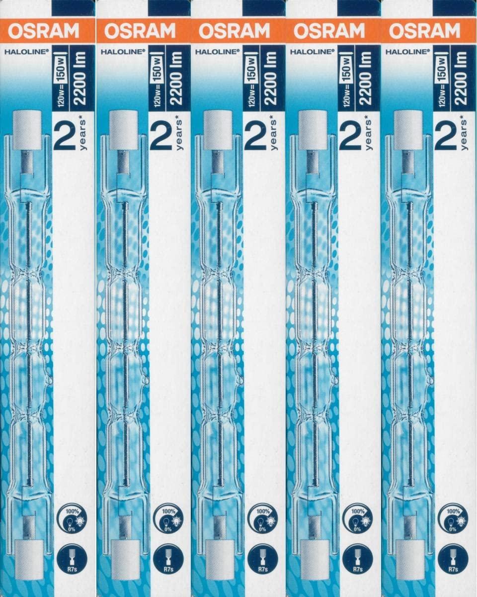 5 pcs Osram halógena de la lámpara Haloline Pro, R7s, 230V, longitud: 118 mm, 120 W, 64696 [Clase de eficiencia energética D]