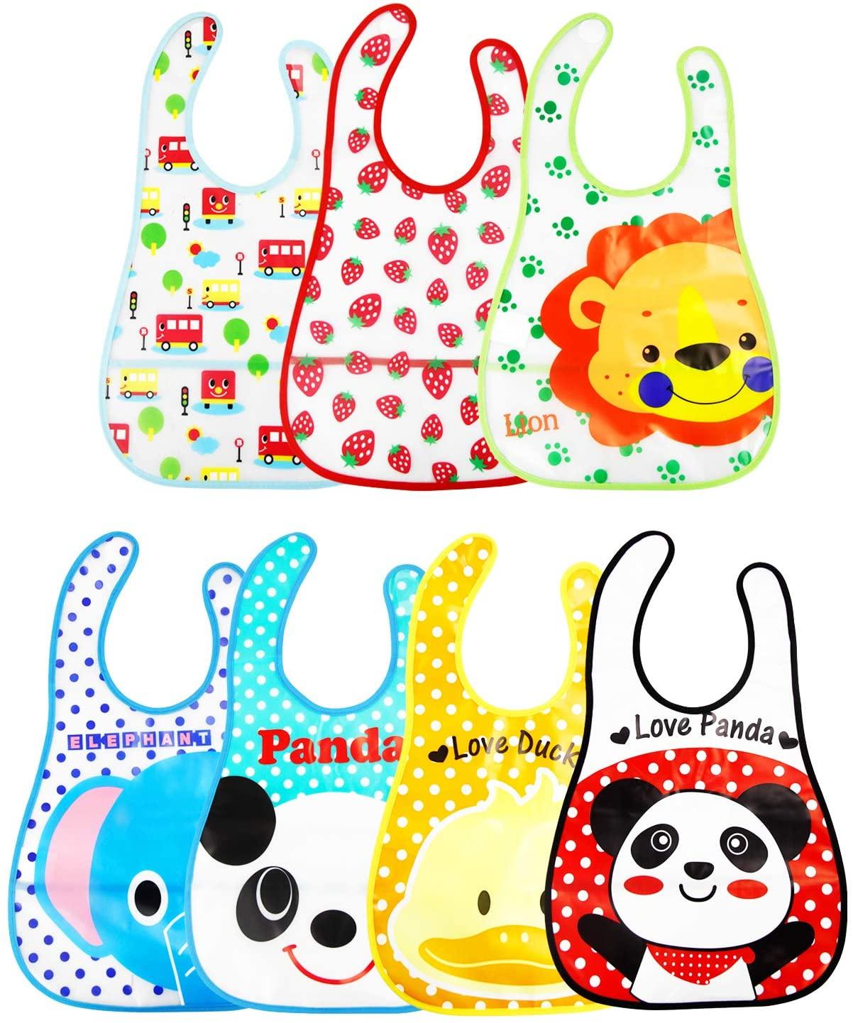 7 Pcs Unisex Baberos Impermeables Para Bebe Niña Niño Dibujos Animados Baberos Bebe Guarderia Multicolor Baberos Bebe Niñas