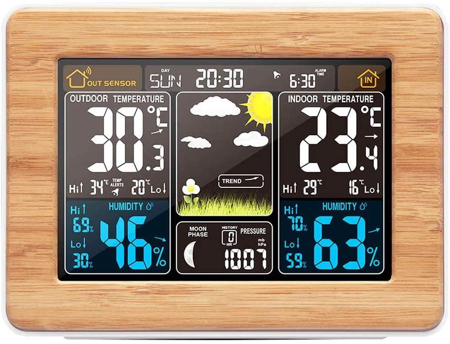 ABEDOE Estación Meteorológica Inalámbrica Reloj Digital Pronóstico del Tiempo con Pantalla a Color y Sensor Exterior Reloj Despertador Electronico Multifuncional,Color de bambú