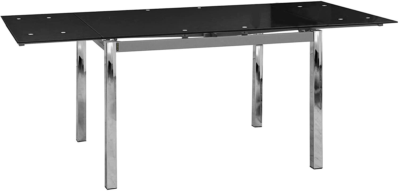 Abitti Mesa Extensible para Comedor con Cristal Templado Negro 120-200x90cm