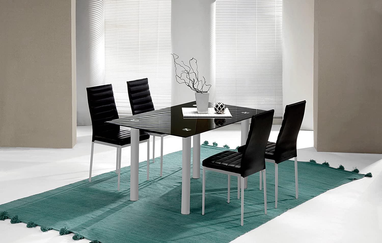 Abitti Mesa Fija para Comedor o Salon de Cristal Templado Color Negro y Patas Color Gris 140cm