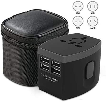 Adaptador de Corriente de Viaje Mundial/Cargador de Pared Internacional Adaptador de Enchufe de CA con 2.4A Smart Power USB y 3.0A USB Type-C para EE. UU. UE Reino Unido AUS Teléfono Tableta portátil