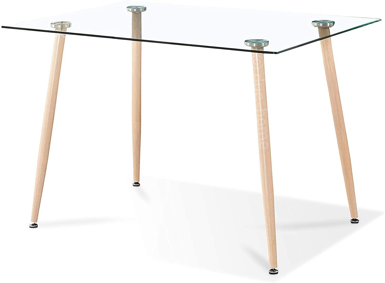 Adec - Liam, Mesa de Comedor, Mesa Salon Fija de Cristal Patas Color Oak, Medidas: 120 cm (Largo) x 80 cm (Ancho) x 75 cm (Alto)