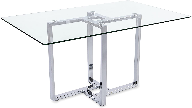 Adec - Mesa de comedor cristal para salón comedor modelo VERONA, medias: medidas 88 x 140 x 75 cm de alto (Cromado)