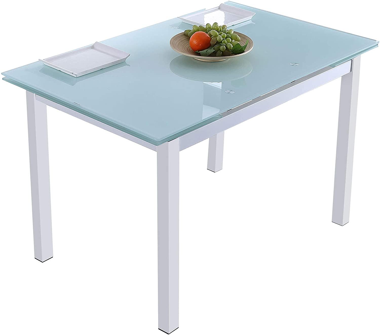 Adec - Milan, Mesa de Comedor salón o Cocina Extensible, Mesa Acabado en Cristal Color Blanco, Medidas: 110-170 cm (Largo) x 70 cm (Fondo) x 75 cm (Alto)