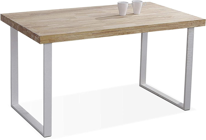 Adec - Natural, Mesa de Comedor, Mesa Salon o Cocina Fija Color Roble Salvaje y Blanco, Medidas: 140 cm (Largo) x 80 cm (Ancho) x 76,5 cm (Alto)