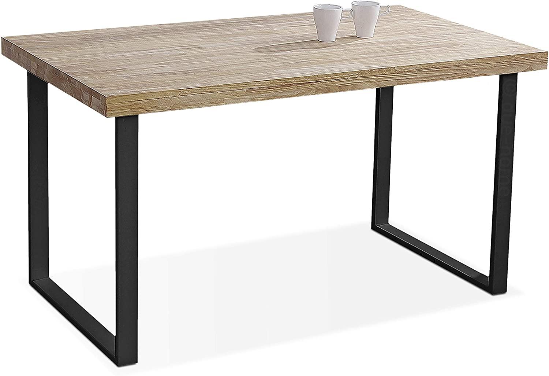 Adec - Natural, Mesa de Comedor, Mesa Salon o Cocina Fija Color Roble Salvaje y Negro, Medidas: 140 cm (Largo) x 80 cm (Ancho) x 76,5 cm (Alto)