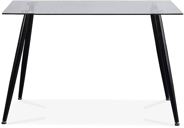 Adec - Suecia, Mesa de Comedor, Mesa Salon Fija Color Cristal y Negro, Medidas: 120 cm (Largo) x 80 cm (Ancho) x 75 cm (Alto)