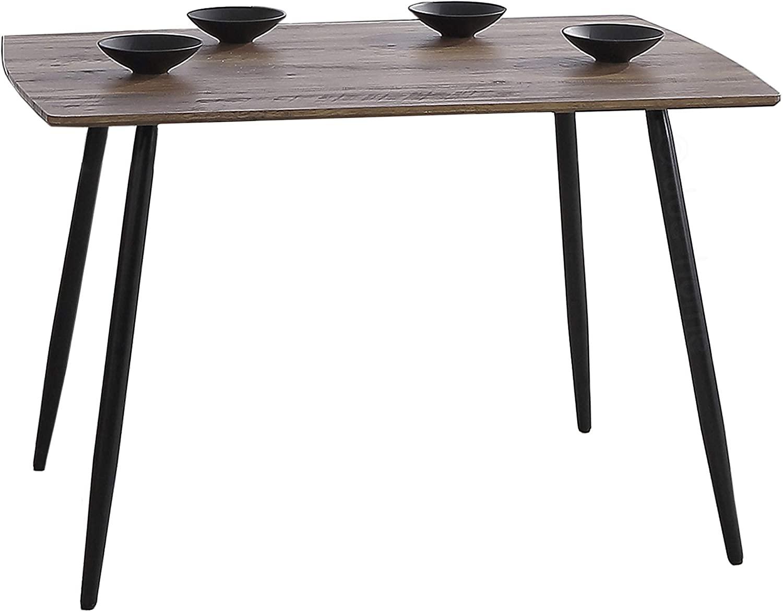 Adec - Suecia, Mesa de Comedor, Mesa Salon Fija Color Nogal y Negro, Medidas: 120 x 80 x 75 cm de Alto