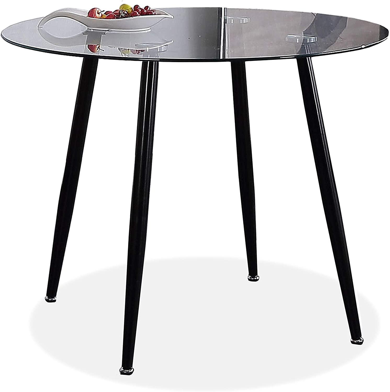 Adec - Suecia, Mesa de Comedor Redonda, Mesa de salón acabada en Cristal y Patas Negras, Medidas: 75 cm (Alto) x 100 cm (diámetro)