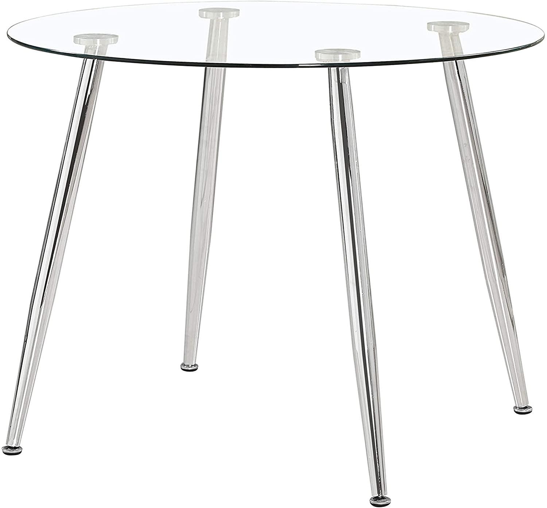 Adec - Suecia, Mesa de Comedor Redonda, Mesa de salón, Medidas: 100cm (Diametro) x 75 cm (Altura). (Cristal y Cromado)